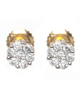Flower/Cluster Studs in Yellow Gold (0.23 ct)