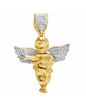 Real Diamonds Men's 10K Yellow Gold Angel Cherub Pendant Charm 1/4 CT 1.5""