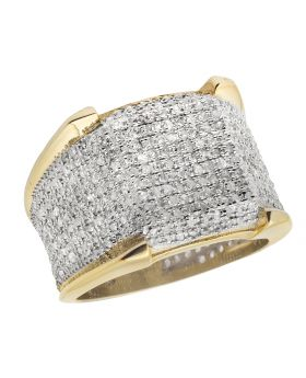 Men's 10K Yellow Gold 3D Iced Real Diamonds Eternity Pinky Ring 1.50ct