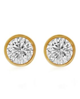 Unisex 14K Yellow Gold Solitaire Bezel Studs Earring 2.0ct