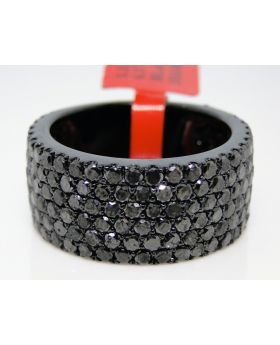 6.59 CT MENS BLACK ON BLACK WEDDING BAND 11 MM BLACK DIAMOND FASHION RING