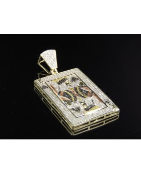 10K Yellow Gold King of Black Heart Poker Pendant 1.32 Ct 1.9 Inches