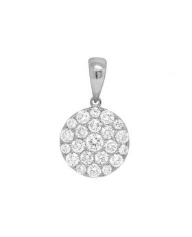 "14K Ladies White Gold Round Flower Cluster Pendant Set 0.75"" 1.05CT"
