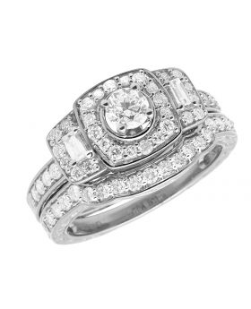 14K White Gold Ladies Real Baguette Diamond Engagement Ring Set 1.0ct