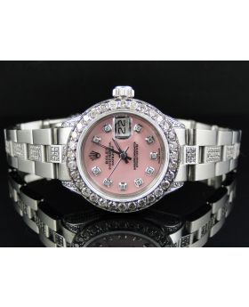 Ladies Rolex Datejust 27 Mm Stainless Steel Diamond Watch (8.0ct)