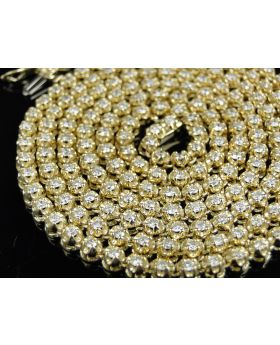 Men's 14K Yellow Gold One Row 4.5MM Diamond Necklace 7.2 Ct 24 Inch
