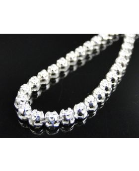 Prong Set 1 Row Genuine Diamond Chain in 14k White Gold (10 ct)
