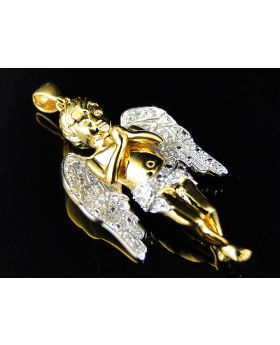 Solid 3d Guardian Angel Pendant in 10k Yellow Gold (.50 Ct)