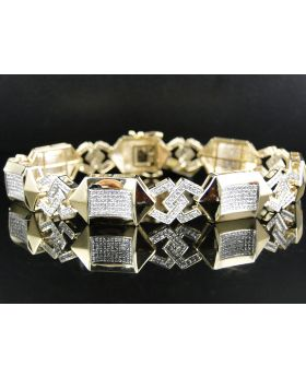 Pave Diamond 8.5 Inch Bracelet set in 10K Yellow Gold (3.70 ct)