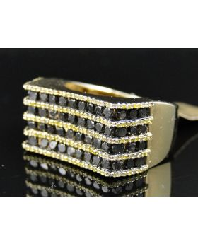 Yellow Gold Black and Yellow Diamond Ring with 3 Ct Diamonds