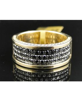 Yellow Gold Black Diamond Ring with 1.40 Ct Diamonds