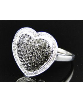 Round Cut Diamond Love Heart Ring set in Sterling Silver (1.0 Ct)