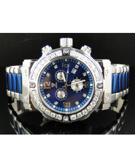Aqua Master Blue Custom Diamond Watch W#146D (4.5 Ct)