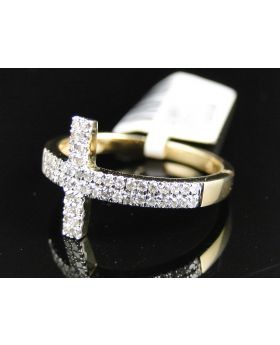 Round Cut Diamond Cross Ring set in Sterling Silver (0.25 Ct)