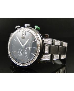 Mens Custom Black PVD YA101331 Diamond Gucci Watch 6.5 Ct