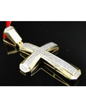 Yellow Gold Finish Cross with Pave Diamonds 2.0 Inch