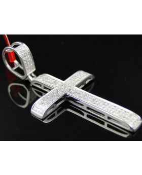 White Gold Finish Cross with Pave Diamonds 2.0 Inch