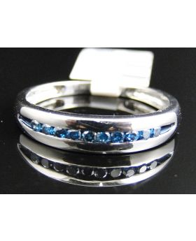 Channel Set Mens 5 MM Blue Diamond Band in White Gold Finish (0.25 Ct)