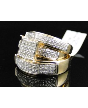 Pave Diamond Trio Ring set in Sterling Silver (0.75 Ct)
