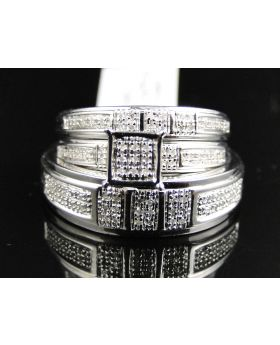 Pave Diamond Trio Ring set in Sterling Silver (0.40 Ct)