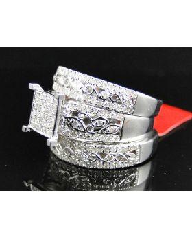 Round Cut Diamond Ring Set in Sterling Silver with a White Gold Finish (0.93 Ct)