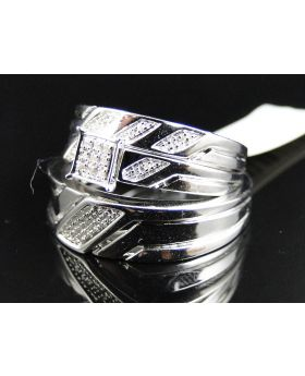 Pave Diamond Trio Ring set in Sterling Silver (0.20 Ct)