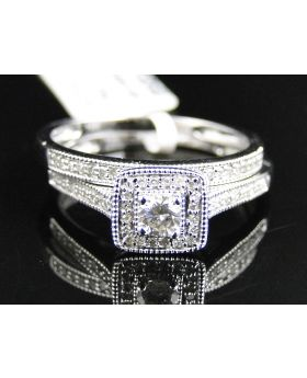 Round Cut Diamond Ring in 10K White Gold (0.35 Ct)