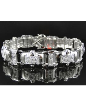 Pave Diamond 8.5 Inch Bracelet Finished in  White Gold (2.0 ct)