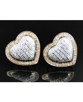 White Diamond Heart Shape Earring in 10K Rose Gold