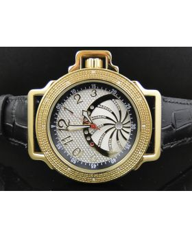 Yellow Techno Com KC Black White Face Diamond Watch