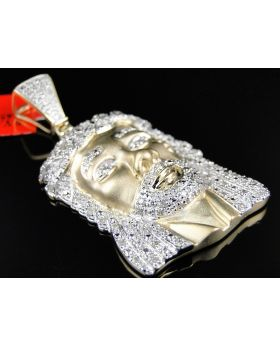 Jesus Face Yellow Gold White Diamond Pendant