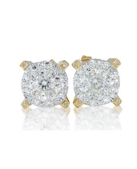 White Diamond Solitaire Look Earring in 10k Yellow Gold (1.75 Ct)