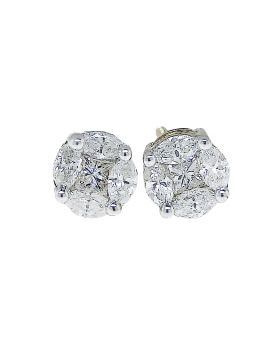 White Diamond Solitaire Look Aleena Earrings in 14k Yellow Gold (0.52 Ct)