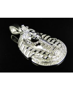 Genuine Diamond King Tutankhamun Pendant in White Gold Finish(.50ct)