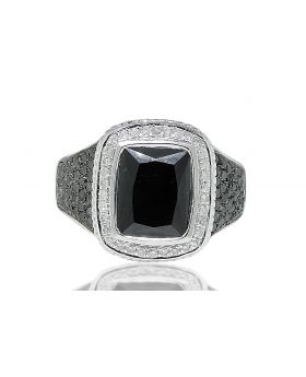 Onyx Center Black and White Diamond Ring in Sterling Silver (1.0 Ct)
