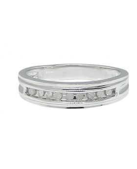 Round Cut Diamond Band set in Sterling Silver (0.11 Ct)