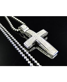Genuine Diamond Mini Cross Pendant & Chain Finished In 10K White Gold (.75 Ct)