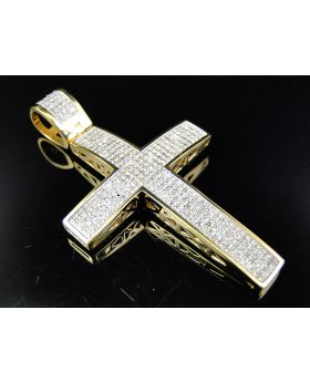 Large Genuine Diamond Cross Finished In 10K Yellow Gold (1.25 Ct)
