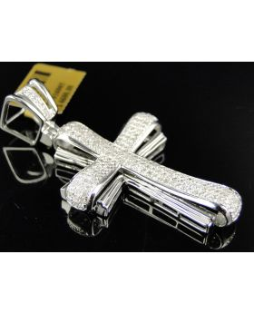 Pave Diamond Cross set in 10K White Gold 2 Inches