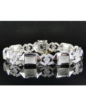 Pave Diamond 8.5 Inch Bracelet set in 10K White Gold (4.25 ct)