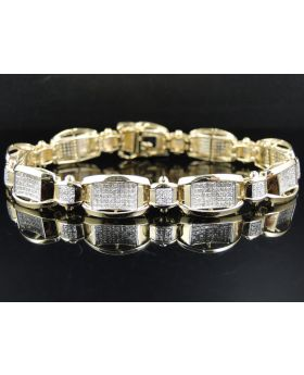 Pave Diamond 8.5 Inch Bracelet set in 10K Yellow Gold (4.0 ct)