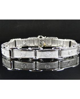 Pave Diamond 8.5 Inch Bracelet set in 10K White Gold (5 ct)