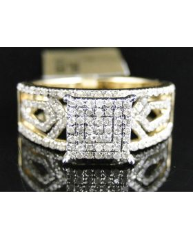 Pave Diamond Fashion Ring set in 10K Yellow Gold (0.60 Ct)