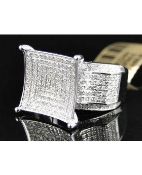 Pave Diamond Fashion Ring set in 10K White Gold (1.20 Ct)