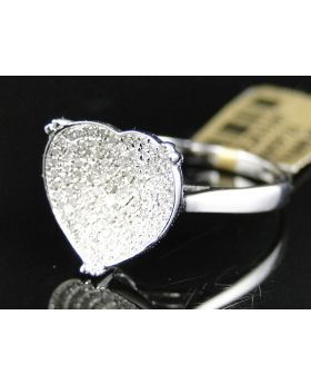 Pave Diamond Heart Ring set in 10K White Gold (0.30 Ct)