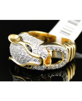 Yellow Gold Finish Diamond Panther Ring 1.0 Ct