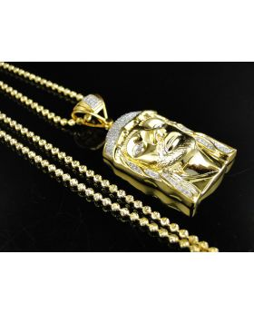 Jesus Diamond Charm in Yellow Gold Finish 0.25 Ct with 24 ins Chain