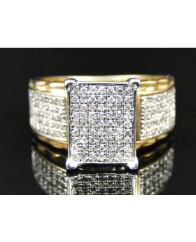 Ladies Yellow Gold Finish Pave Diamond Engagement Ring 0.75 Ct