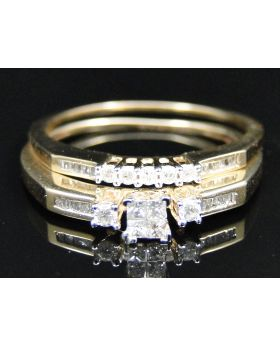 Ladies 10K Yellow Gold Princess Cut Diamond Bridal Dual Ring Set 0.29 Ct