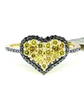 Canary Diamond Heart Ring set in 10K Yellow Gold (0.70 Ct)